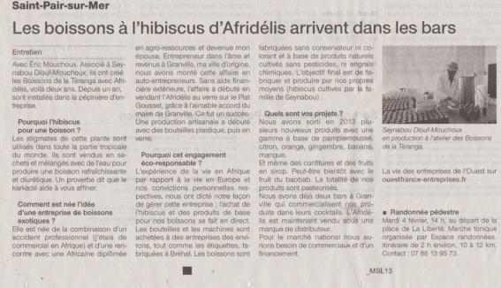 Ouest France Boissons Hibiscus Afridélis Bissap